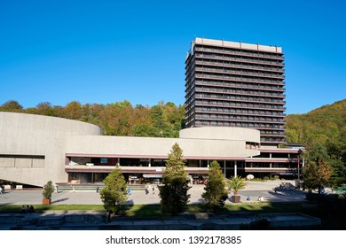 KARLOVY VARY, CZECH REPUBLIC – SEPTEMBER 30, 2018: Hotel Thermal on the edge of the old town of Karlovy Vary. Popular with tourists, the hotel is also the venue of the film festival in Karlovy Vary