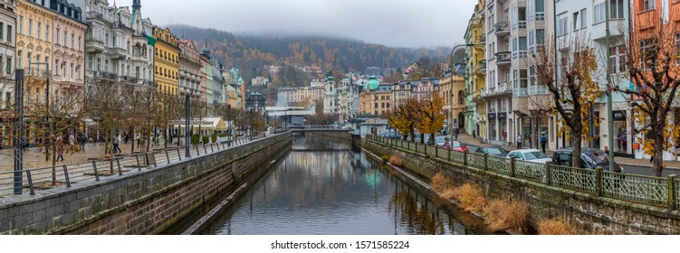 Karlovy Vary / Czechia - November 17 2019: Beautiful downtown of the  world famous spa town of Karlovy Vary in the autumn.