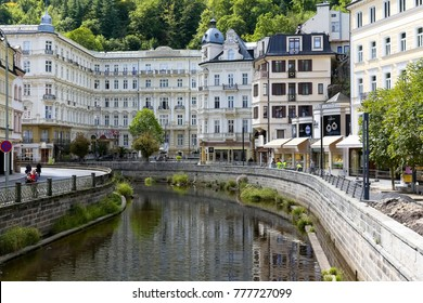 Karlovy Vary, Czechia - September 11, 2017: Large building of Grandhotel Pupp by the River Tepla was the place of stay of many outstanding guests, which adds splendour to its many years of tradition