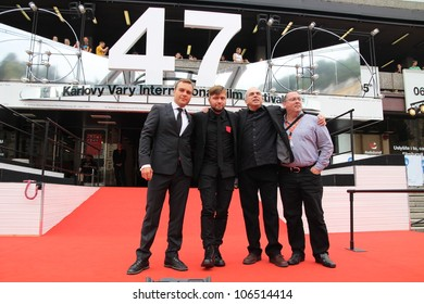 KARLOVY VARY - JULY 1: Actor Patrice Dubois, director Rafaël Ouellet, actor Julien Poulin and producer Denis Chouinard (L-R) arrives at the International Film Festival on July 1, 2012, Czech Republic