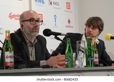 KARLOVY VARY - JULY 2: Director Pascal Rabate (L) and producer Xavier Delmas (R) of film Holidays by the Sea, attends a press conference at the International Film FestivalKarlovy Vary on July 2, 2011, Czech Republic