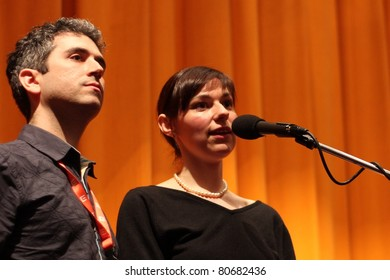 KARLOVY VARY - JULY 2: Directors Eleanor Burke (R) and Ron Eyal (L) attends the screening for film Stranger Things at the International Film Festival, Karlovy Vary on July 2, 2011, Czech Republic