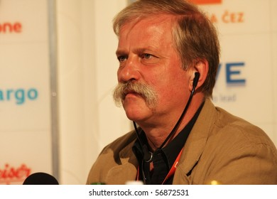 KARLOVY VARY - JULY 7: Hubert Toint, producer of film Hitler In Hollywood, attend a press conference at the International Film Festival Karlovy Vary on July 7, 2010 in Karlovy Vary, Czech Republic