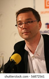 KARLOVY VARY - JULY 7: Frédéric Sojcher, director of film Hitler In Hollywood, attend a press conference at the International Film Festival Karlovy Vary on July 7, 2010 in Czech Republic