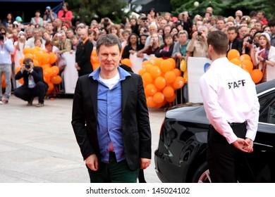 "KARLOVY VARY - JUNE 28: Film director Michel Gondry arrived to present the film ""Le'Ecume des jours / Mood Indigo"" at the International Film Festival, Karlovy Vary on June 28, 2013, Czech Republic"