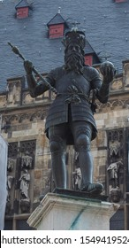 Karlsbrunnen (meaning Charlemagne fountain) unveiled in 1620 in front of the Rathaus (town hall) in Aachen, Germany