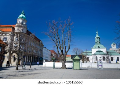 KARLSHAMN, SWEDEN - APRIL 20: City square with church on April 20, 2013 in Karlshamn, Sweden. Karlshamn is the port city in province Blekinge, build in XVIl century, population 20000 residents.