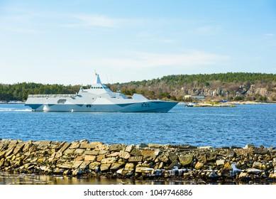 Karlshamn, Sweden - March 19, 2018: Documentary of everyday life and environment. Stealth navy Visby class missile corvette K35 Karlstad on exercise run outside Karlshamn.