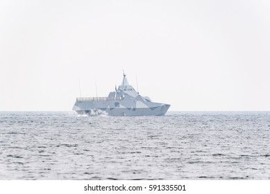 Karlshamn, Sweden - March 2, 2017: Documentary of the Swedish navy Visby class stealth corvette K35 Karlstad on mission. It is used primarily for attack and anti-surface warfare. Foggy day in open sea