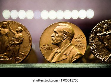 BJÖRKBORN, KARLSKOGA 2017-03-14: Copy of Nobel medals at Björkborn's mansion. Björkborn was Alfred Nobel's last home and he lived there until his death in 1896. Photo Jeppe Gustafsson