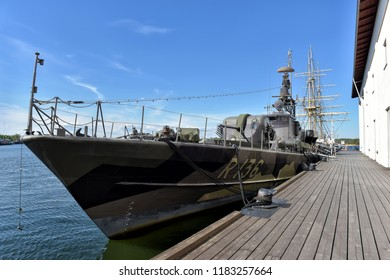 Karlskrona, Sweden - 26,05,2016 Swedish military torpedo boat and later missile boat, now moored as a museum ship outside the maritime museum in town.
