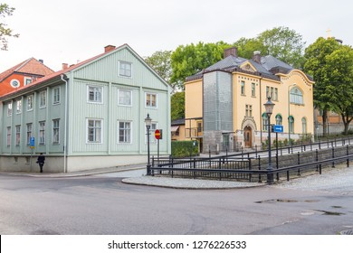 Karlskrona, Sweden- 31 August 2014: Facade of a tenement house in the old town of Karlskrona.
