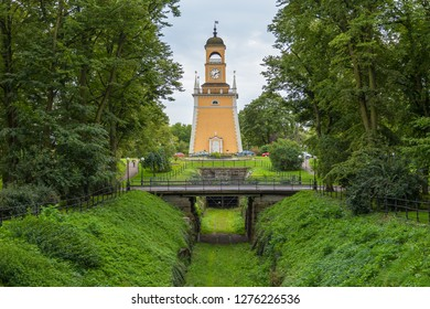Karlskrona, Sweden- 31 August 2014: A bell tower in the Admiralty Park, now a belfry of the Admiralty church.