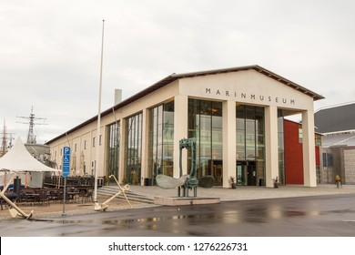 Karlskrona, Sweden - 31 August, 2014: The entrance to the Marinmuseum maritime museum at Stumholmen island.