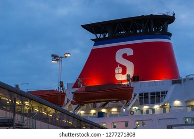Karlskrona, Sweden- 31 August 2014: Stena Line, ferry moored in the harbor at Karlskrona at sunset time.