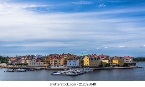KARLSKRONA, SWEDEN - AUGUST 10, 2014: Cityscape of Karlskrona. City is known for rare in Sweden baroque architecture and only remaining naval base and the headquarters of the Swedish Coast Guard.