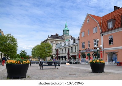 KARLSKRONA, SWEDEN - JUNE 07: Main city square view on June 07, 2012 in Karlskrona, Sweden. Karlskrona is the capital city of province Blekinge, build in XVI century, population 35212 residents.