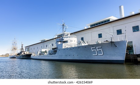 KARLSKRONA, SWEDEN - MAY 07, 2016: HMS Bremon (55), (1940-1966) Swedish minesweeper from world war 2, now moored as a museum ship outside the maritime museum in town.