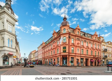 KARLSKRONA, SWEDEN - MAY 26, 2015: The main shopping street in the city center of Karlskrona, Sweden