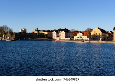 Karlskrona, Sweden - October 30, 2017: Environmental documentary. The Blekinge governor residence (center) with surrounding environment as seen from the sea.