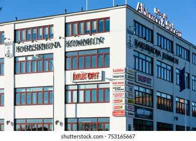 Karlskrona, Sweden - October 30, 2017: Documentary of everyday life and environment. The modern town hall or government building shared with Albinsson & Sjoberg motoring publishing company.