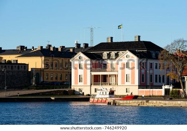 Karlskrona, Sweden - October 30, 2017: Environmental documentary. The Blekinge governor residence as seen from the sea.