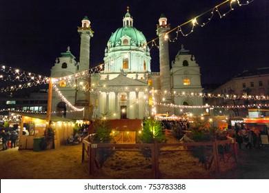 Karlsplatz Christmas market in Vienna, Austria