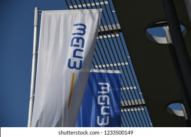 Karlsruhe, Baden-Wuerttemberg / Germany - May 18, 2018: Flags in front of EnBW headquarters in Karlsruhe, Germany - EnBW is a publicly traded electric utilities company