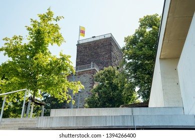 Karlsruhe, Baden-Wurttemberg, Germany - 07.25.2018: Turmberg tower on the hill in Karlsruhe city in the Schwarzwald or Black Forest