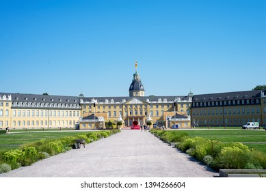 Karlsruhe, Baden-Wurttemberg, Germany - 07.27.2018: The image shows the Karlsruher Schloss in Karlsruhe. The picture was made from a public location.