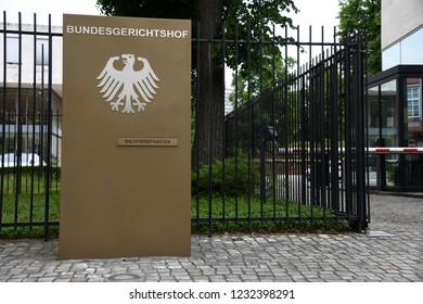 Karlsruhe, Baden-Wurttemberg / Germany - May 17, 2018: Entrance to The Federal Court of Justice in Karlsruhe, Germany - Bundesgerichtshof - BGH - is the highest court in Germany