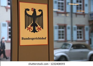 Karlsruhe, Baden-Wurttemberg / Germany - May 17, 2018: Sign at the entrance to The Federal Court of Justice in Karlsruhe, Germany - Bundesgerichtshof - BGH - is the highest court in Germany