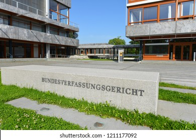 Karlsruhe, Baden-Wurttemberg / Germany - May 18, 2018: Sign at the entrance to the Supreme constitutional Court of The Federal Republic of Germany - located in Karlsruhe, Germany