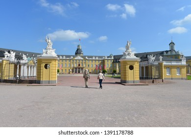Karlsruhe, Baden-Wurttemberg / Germany - May 18, 2018: Front view of Karlsruhe Palace in Karlsruhe, Germany