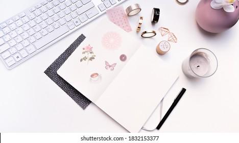 Karlsruhe, Germany - 02.02.2020: bullet journal - notebook - mockup  of planner on white  background
