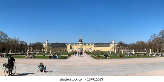 Karlsruhe, Germany - 02/09/2019: The image shows the Karlsruher Schloss in Karlsruhe. The picture was made from a public location.