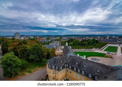 Karlsruhe, Baden-Württemberg, Germany - 09 21 2018: View down from Karlsruher Schloss / Castle