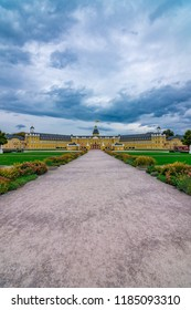 Karlsruhe, Baden-Württemberg, Germany - 09 21 2018: Karlsruher Schloss viewed from the front