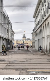 Karlsruhe, Germany - 09 February 2019: The image shows the Karlsruher Schloss and a part of the shopping street of Karlsruhe.