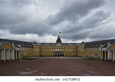 Karlsruhe, Germany - 09 February 2019: The image shows the Karlsruher Schloss in Karlsruhe. The picture was made from a public location.
