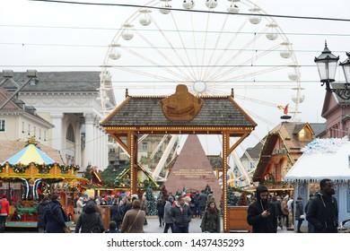 karlsruhe, Germany. 09.12.2018 Christmas market in Karlsruhe