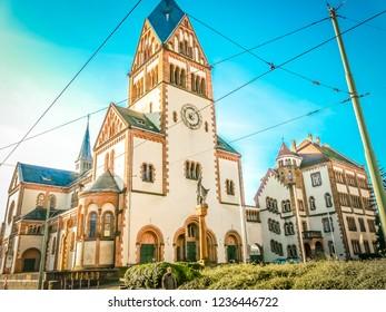 Karlsruhe, Baden-Württemberg / Germany - 12 23 2009: Catholic Pfarrkirche church of St. Bonifatius at Sophienstrasse Street in Karlsruhe in the Schwarzwald or Black Forest in the southwest of Germany