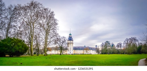 Karlsruhe, Baden-Württemberg / Germany - 12 23 2009: Panoramic view of the Palace of Karlsruhe city with the garden in winter in the Schwarzwald or Black Forest in the southwest of Germany