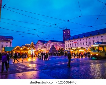 Karlsruhe, Baden-Württemberg / Germany - 12 23 2009: Christmas decorations at Marktplatz square with the city hall at dusk Karlsruhe city in the Schwarzwald or Black Forest in the southwest of Germany