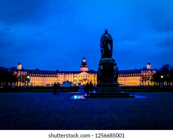 Karlsruhe, Baden-Württemberg / Germany - 12 23 2009: Night view of Schlossturm and Badisches Landesmuseum museum Karlsruhe city in the Schwarzwald or Black Forest in the southwest of Germany