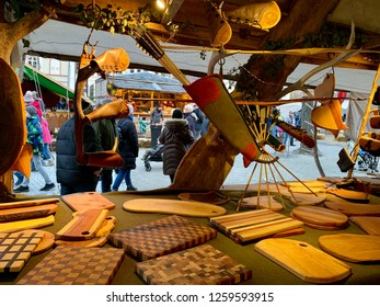 Karlsruhe, Germany - 15. December 2018. A shop with wooden crafts and arrows for bow on the Medieval Christmas market. Big and small arrows and quivers.