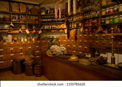 KARLSRUHE, GERMANY, 17 OCTOBER 2017. Interior of a ancient city shop in the museum of Baden, Karlsruhe.