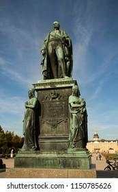 KARLSRUHE, GERMANY, 17 OCTOBER 2017. The statue of Carl Friedrich von Baden in town Karlsruhe, Germany.