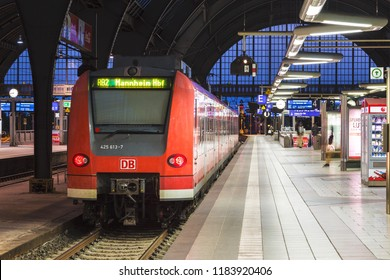 Karlsruhe Germany - 27 August 2018: regional train to Mannheim on platform in Karlsruhe Hauptbahnhof/main railway station in the evening