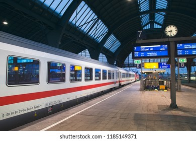 Karlsruhe, Germany - 27 August 2018: IC 2167 to Stuttgart on platform in Karlsruhe Hauptbahnhof/main railway station in the evening